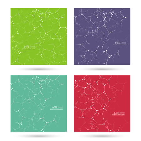 consistency: Abstract background with DNA strand, atom, molecule structure. genetic and chemical compounds. vector green, violet, purple, red