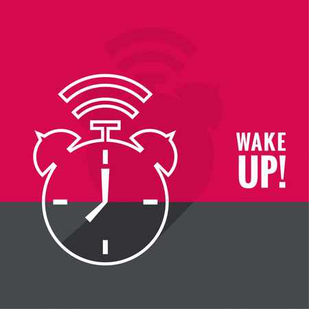awakening: Background with alarm clock. The concept of early awakening. morning wake up and deadline. vector. flat design with shadow. outline