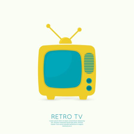 home video: Abstract background with old TV and antenna. Browse TV shows, commercials, movies and TV series. homeliness. Flat design