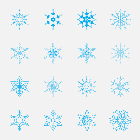 Vector set of snowflakes for holiday decorations Illustration
