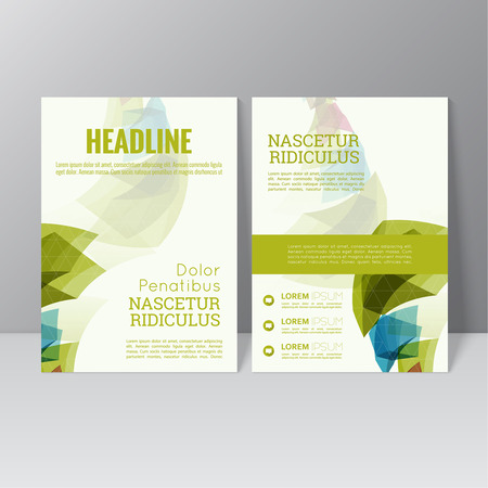 Vector brochure template design with colored crystals, trellis structure. Flyer or booklet Layout.