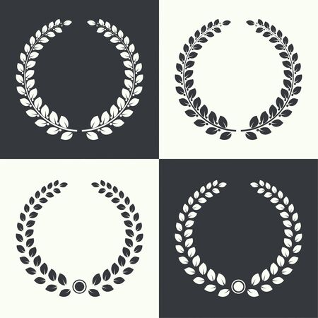 award: Set of vector circular laurel wreath. Insignia awards,  prizes and excellence.