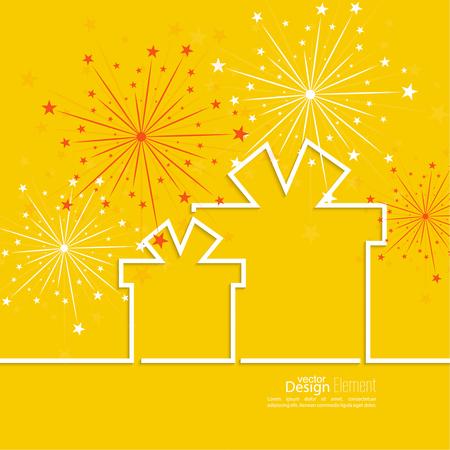 빛 배경에 빨간 리본과 화려한 불꽃 놀이와 함께 선물 상자. 기념일을 축하합니다