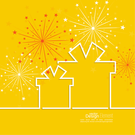 Gift box with red ribbon and colorful fireworks on light background. Congratulations on  anniversary