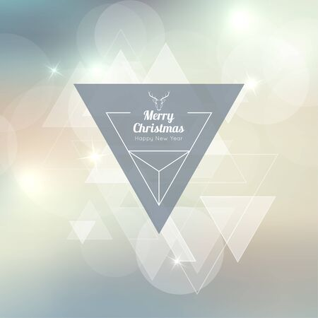 hovering: Abstract blurred vector background with triangular banner and hovering triangles. Merry Christmas. Happy New Year. Illustration