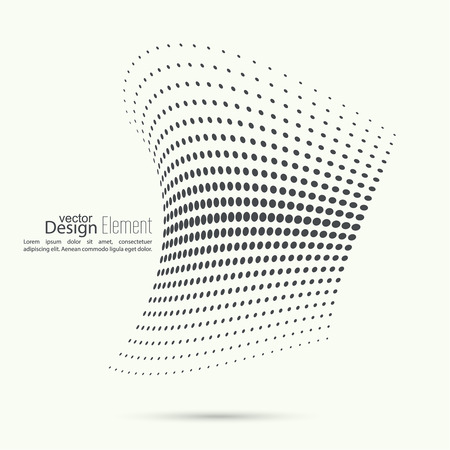 Abstract design: The dynamic object curved waves. halftone. Dots of various diameters