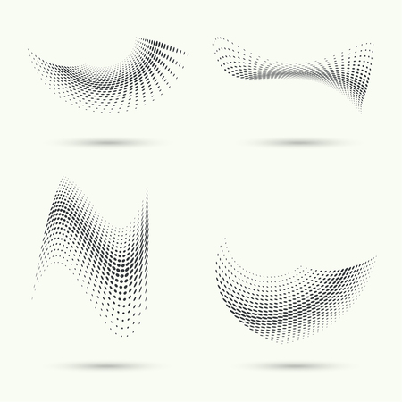 halftone dots: The dynamic object curved waves. halftone. Dots of various diameters. Set.