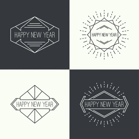 ray light: Set of vintage hipster banners, insignias, radial sunburst. Border and frame. Minimal design. Geometric Shapes and Light Ray Collection. Happy New Year