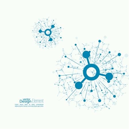 Array mit dynamischen emittierten Teilchen. Knoten Molekülstruktur. Wissenschaft und Anschlusskonzept. Explosion und Zerstörung. Techno Forschung, Gehirnzellen, Neuronen
