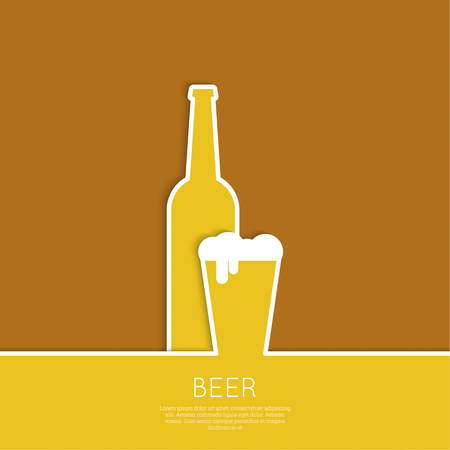 brewer: Abstract background with Beer glass, bottle with yellow liquid and foam. Icon for restaurant, pub menu, cafe, signage. minimal. flat design