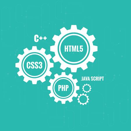 The concept of creating Web project using programming languages, search engine optimization, promotion. Gears with lines and dots.