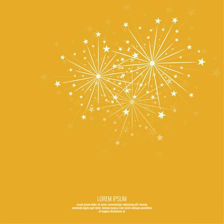 Fondo abstracto con destellos de saludo. Fuegos artificiales de celebración brillante. amarillo