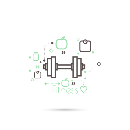 Apple and dumbbell with weights. The concept of  healthy diet and weight loss. minimal. icon.
