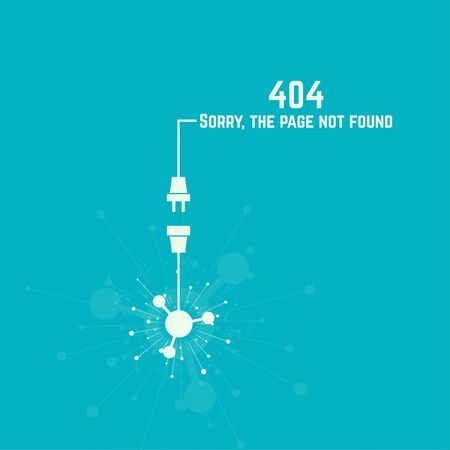power failure: 404 connection error. Abstract background with wire plug and socket. Sorry, page not found. vector. The explosion of molecules, scattering particles.