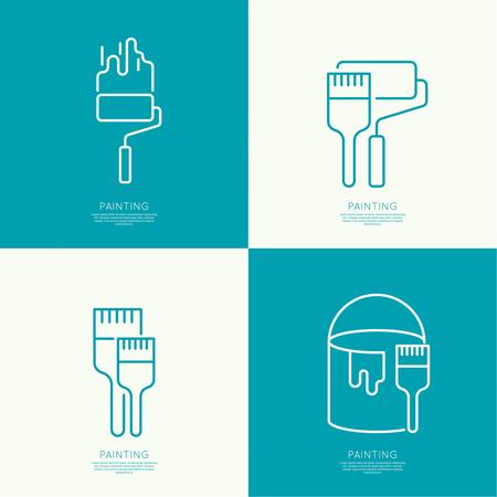the brush: Icono de conjunto con las latas de brocha, rodillo de pintura. La pintura y restauraci�n. Trabajos de pintura. Contorno. m�nimo