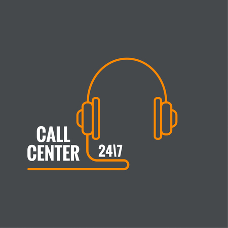 support center: Abstract background with handphone. Icon. Call technical support. 24, 7. helpline, support service. Contacts. vector. Flat design. minimal, outline, pictogram