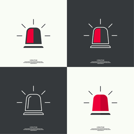 light red: Icon of police, fire, ambulance siren. Icon spinning flashers with scattered rays. Flat style. outline.