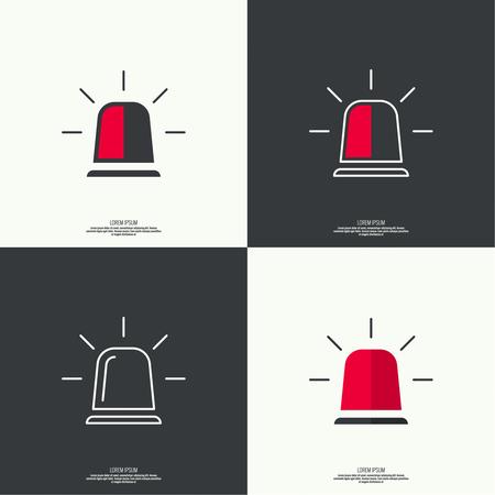 luz roja: Icono de la sirena de policía, bomberos, ambulancias. Icono intermitentes giratorias con rayos dispersos. Estilo plano. contorno.