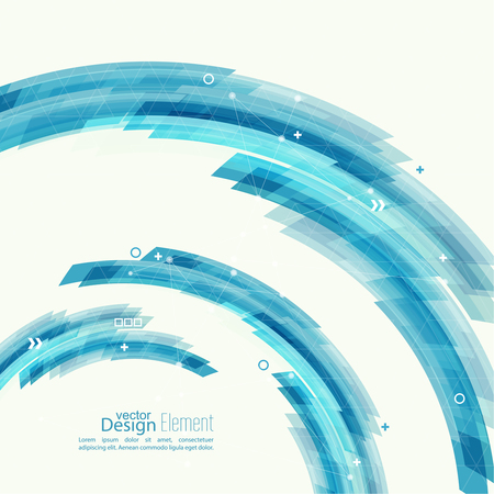 Abstract background with blue stripes, plus. Concept  new technology and dynamic motion. Digital Data Visualization. Arc with symbols. Annual Report to the communications and information dots, circle Illustration