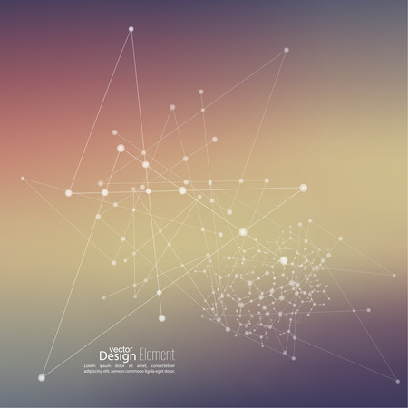 particles: Virtual abstract background with particle, molecule structure. genetic and chemical compounds. Space and constellations. Science and connection concept. Social network. Blurry soft creative vector.