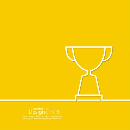 acknowledgment: Gold cup of the winner on  pedestal. Abstract background. minimal. Outline