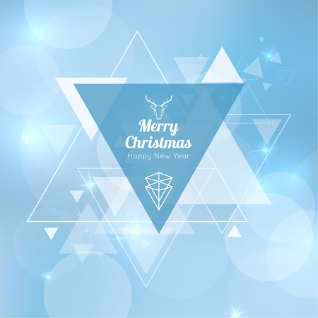 Abstract blurred vector background with triangular banner and hovering triangles. Merry Christmas. Happy New Year. Illustration