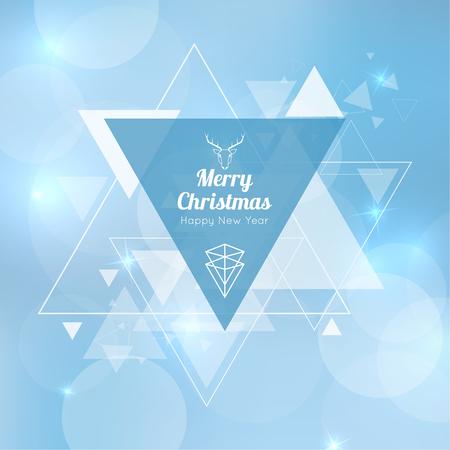 Samenvatting vage vector achtergrond met driehoekige banner en zweven driehoeken. Vrolijk kerstfeest. Gelukkig nieuwjaar.