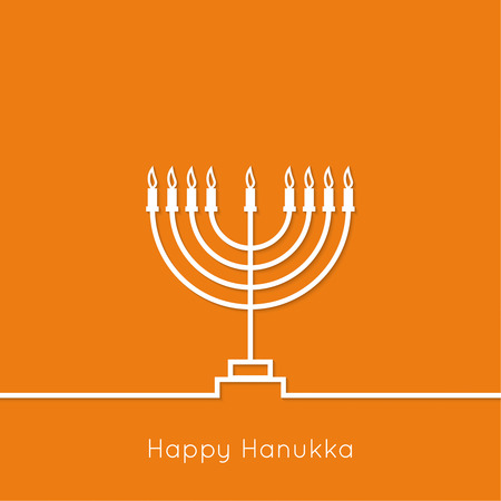 hanukkah menorah: Jewish Menorah with candles. Vector illustration. Abstract background happy hanukkah. Outline