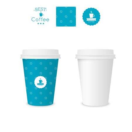 polystyrene: Closed paper cup for coffee with texture. Sample seamless pattern coffee badge. Mock up. blue Illustration