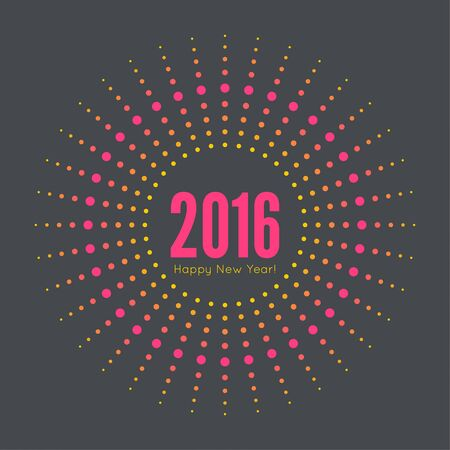 happy new year banner: Round banner with rays. happy new year 2016. Decoration collection. frames, vintage labels. multicolored dots Illustration