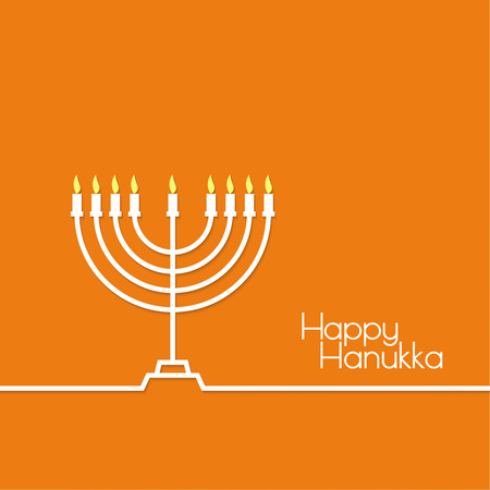 Jewish Menorah with candles. Vector illustration. Abstract background happy hanukka. Outline Illustration