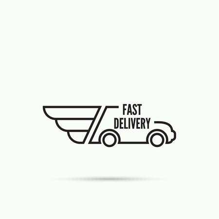 courier service: Logo car with wings. The concept of fast delivery. Courier service