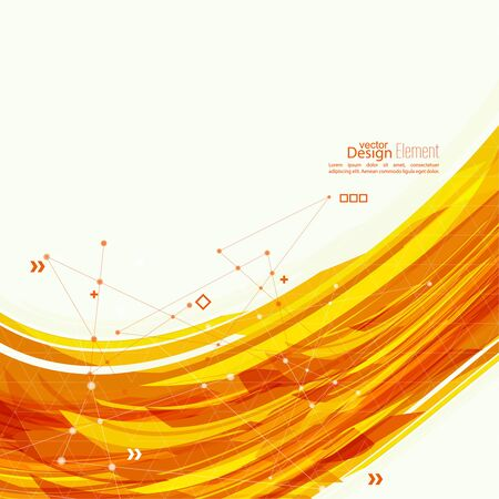 circle abstract: Abstract background with orange stripes, plus. Concept new technology and dynamic motion. Digital Data Visualization. Arc with symbols. Annual Report with information dots, circle, wave Illustration