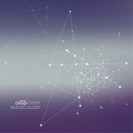 molecula: Fondo abstracto Virtual con partículas, estructura de la molécula. compuestos genéticos y químicos. Espacio y constelaciones. Ciencia y concepto de conexión. Red social. Borrosa vectorial creativa suave.