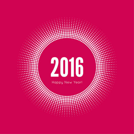 happy new year banner: Round banner with rays. happy new year 2016. Decoration collection. frames, vintage labels. red, white