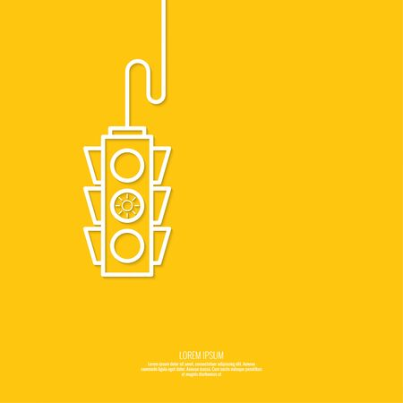 Abstract background with traffic lights. yellow light. vector icons. Outline. minimal. The concept of prevention, stopping readiness Illustration