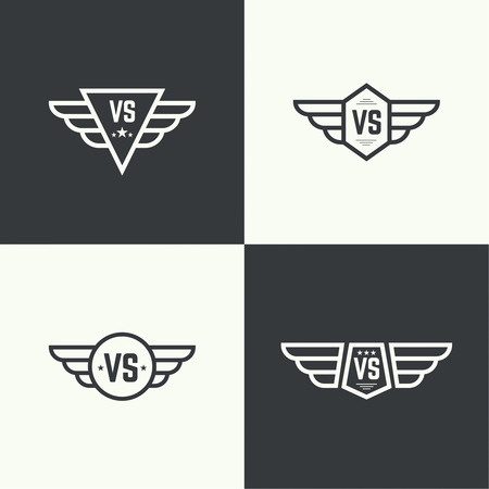 Versus sign. Badge with wings. Concept of opposition, battle, confrontation