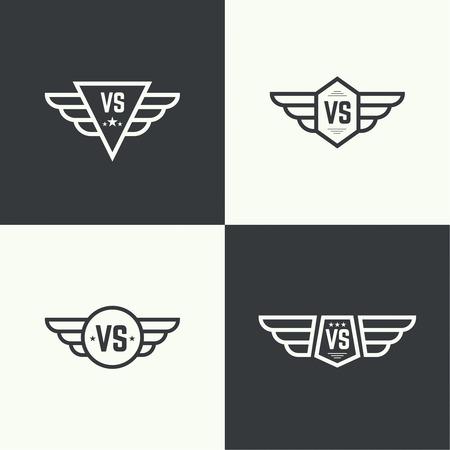 Versus teken. Badge met vleugels. Concept van de oppositie, de strijd, de confrontatie