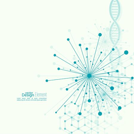 brain cells: Array with dynamic emitted particles, dot. Node molecule structure. Science and connection concept. Explosion and destruction. Techno Research, brain cells, neurons. DNA strand, helix, spiral