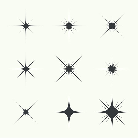 Vector set of sparkle lights stars. Stars with rays, explosion, fireworks. light background 向量圖像