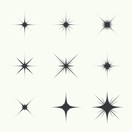 Vector set of sparkle lights stars. Stars with rays, explosion, fireworks. light background Stock Illustratie