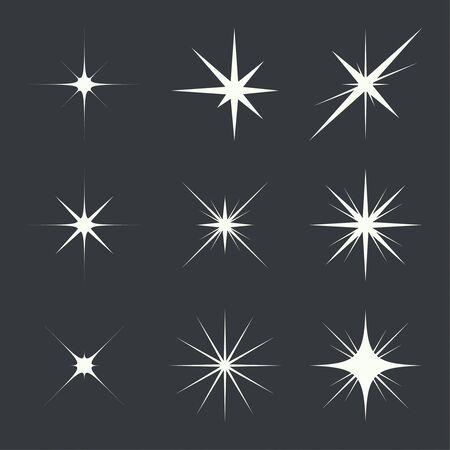 highlight: Vector set of sparkle lights stars. Stars with rays, explosion, fireworks. dark background Illustration