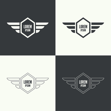 Badge and shield with wings. Symbol of military and civil aviation. Outline  emblems 向量圖像