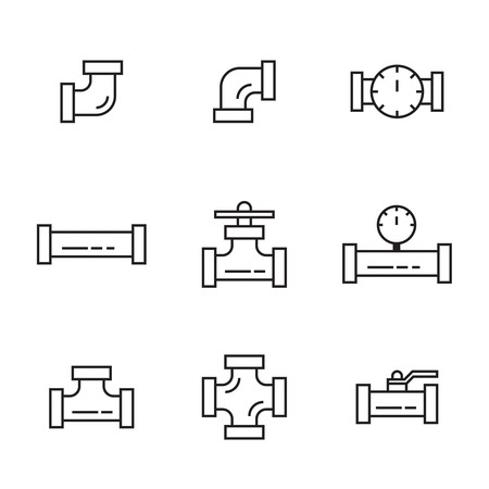 drainage: Pipes and fittings, tap. Vector icons lineart. Sewage and Drainage