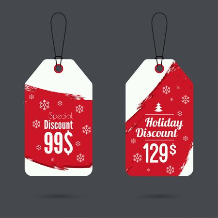 discount: Set price tag with smear watercolor painting. special price, holiday discount and. Christmas tree, Christmas discounts. red Illustration