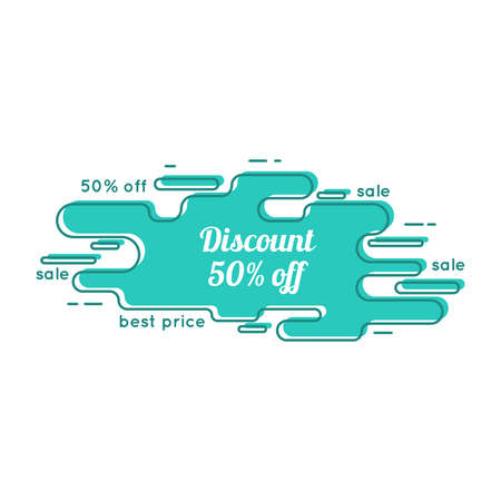 discount tag: Abstract tag with discount. Contemporary banner of the curve. Outline. Line art.