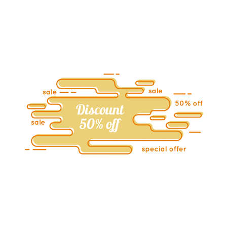 curve line: Abstract tag with discount. Contemporary banner of the curve. Outline. Line art.