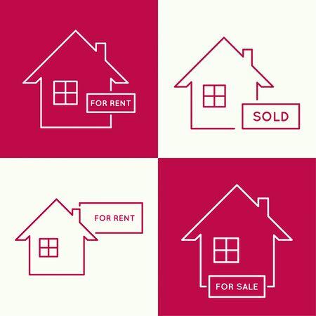 placa bacteriana: Conjunto de iconos con las casas de alquiler, arrendamiento y venta. logotipo de bienes raíces. fondo rojo. mínimo. Contorno. Vectores