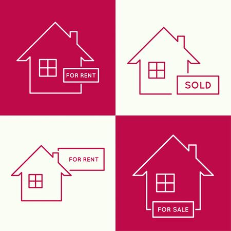 plaque: Set of icons with houses for renting, leasing and selling. real estate logo. red background. minimal. Outline.