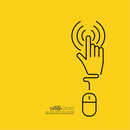 Computer-Maus-Zeiger auf die gepunktete Linie verbunden zu klicken. minimal, Umriss. Gelb Standard-Bild - 48204685